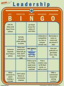 Leadership Bingo, leadership assessment, leadership game