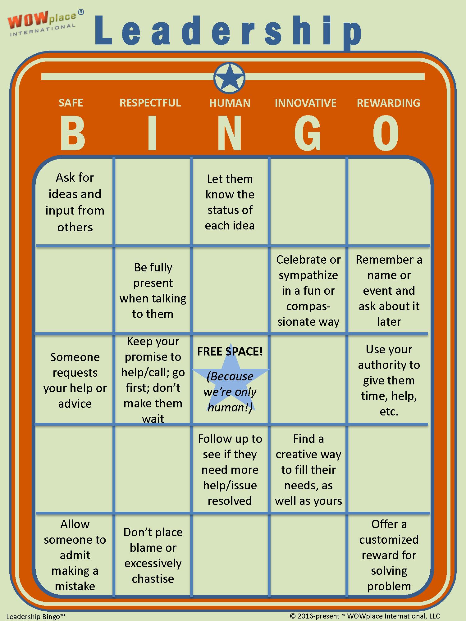 Leadership bingo the game based leadership assessment tool leadership bingo leadership assessment leadership game solutioingenieria Images